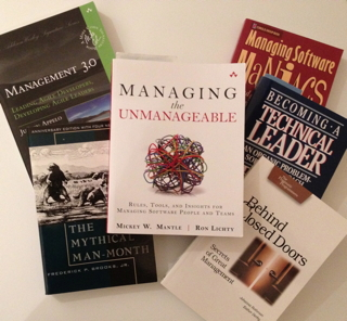 photo: Almost all the training for managing programmers that exists: 6 of only 8 books on the topic