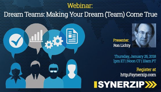 1:02: Synerzip webinar: Dream Teams: Making Your Dream (Team) Come True: by Ron on Thurs, Jan. 25, 2018 (also see Slidesets, below, for the slides)